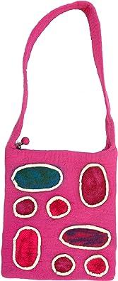 GURU SHOP Boho Filztasche `Patchwork` - Pink, Herren/Damen, Rosa, Wolle, Size:One Size, 35x30x3 cm, Bunter Stoffbeutel