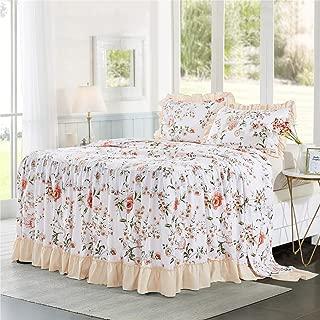 bednlinens&things 3PC Feminine, Shabby Chic Pink Peach Flower Ruffle Skirt Bedspread Comfy Decorative Cover Twin, Queen, King (Hana Peach, Queen)