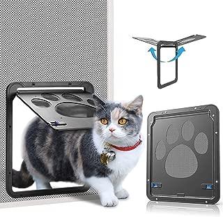 Ownpets Puerta para Perros y Gatos Puerta Mosquitera para Mascotas Gatera de Gatos con Cerradura Automática Puerta Magnética con Malla para Perros Pequeños