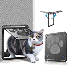 OWNPETS Pet Screen Door, Magnetic Flap Screen Automatic Lockable Black Door for Small Dog and Cat Gate
