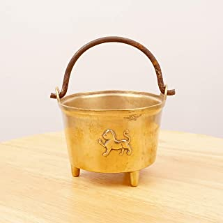 Restored by UKARETRO 12 cm Boiler Pot/Kettle/Bucket/Pail/Cauldron || Vintage Solid Brass with Cast Iron Handle || Elevated on 3 Legs || Lion Design