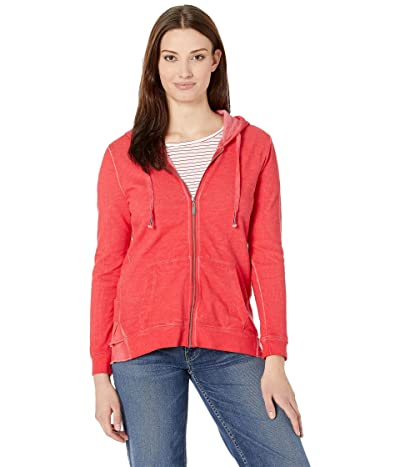 Tribal Slub French Terry Long Sleeve Hoodie with Ruffle (Teaberry) Women