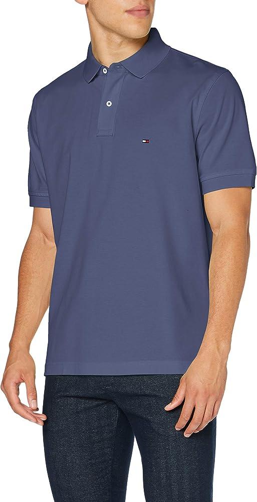 Tommy hilfiger polo,maglietta per uomo a maniche corte,100% cotone MW0MW04119A