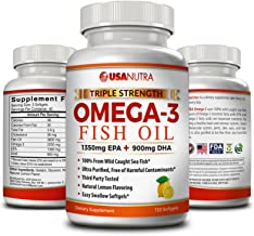 Omega 3 Fish Oil 2250mg with 1350 EPA + 900 DHA Triple Strength Wild Caught Icelandic Fish Oil 120 Capsules. Made in USA