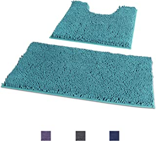 Bathroom Rugs and Mats Sets 2 Piece,Super Absorbent & Soft Bath Rugs with 1'' Microfiber Chenille Pile,Anti-Slip Shower Rugs +Toilet Mat,Machine Washable Bath Rugs Sets (Curved Runner Set, Turquoise)