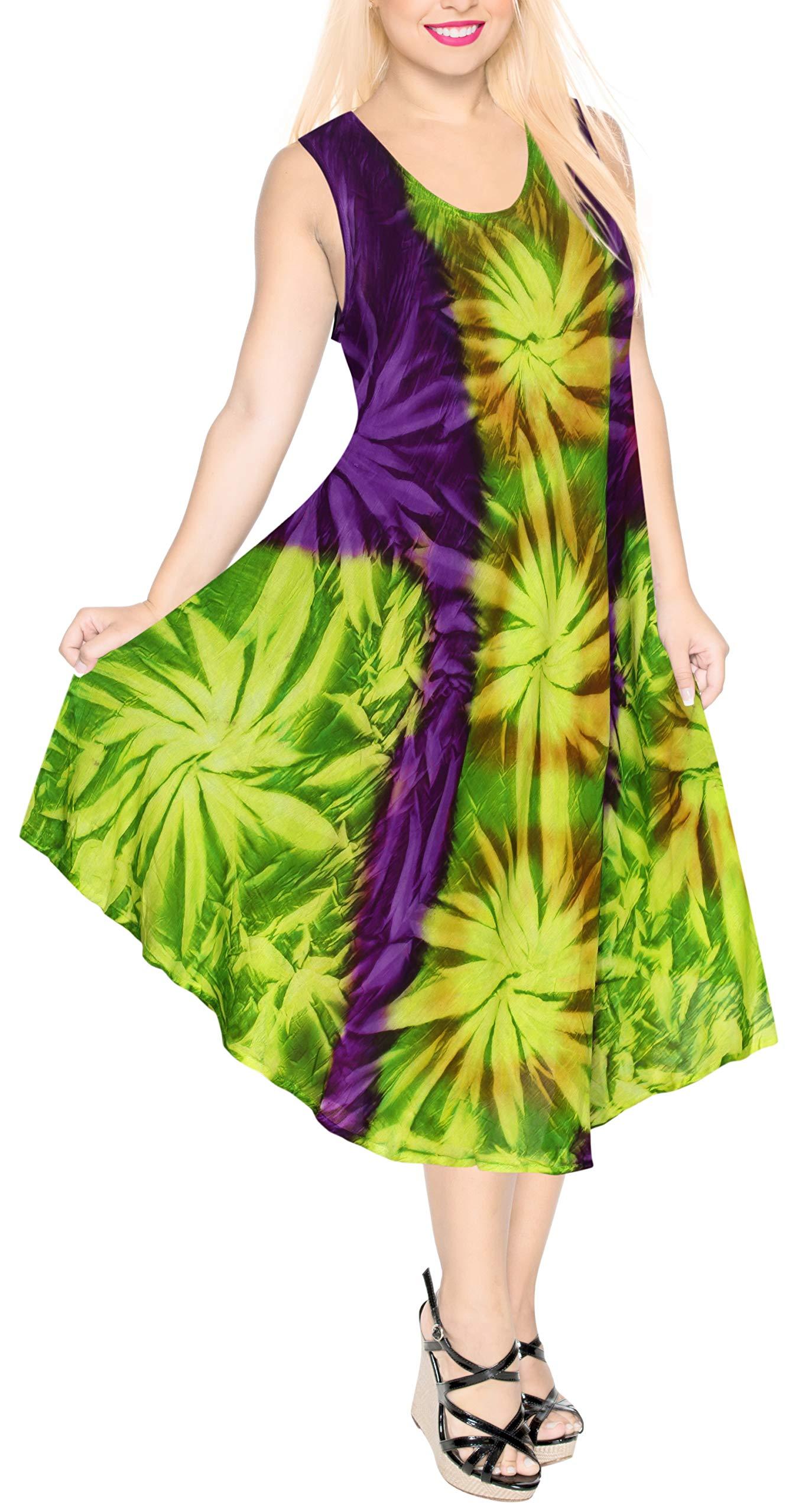 Available at Amazon: LA LEELA Women's Midi Beach Dress Swing Casual Sundress Beachwear Hand Tie Dye