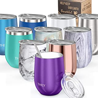 Vacuum Insulated Stemless Wine Tumbler - THILY T1 Triple-Insulated Stainless Steel Wine Glass with Lid, Reusable Straw, 12 oz, Keep Cold & Hot for Wine, Coffee, Cocktails, Drinks, Purple