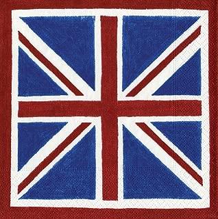 Caspari - Party Paper Napkin Set, British Flag, Box of 40