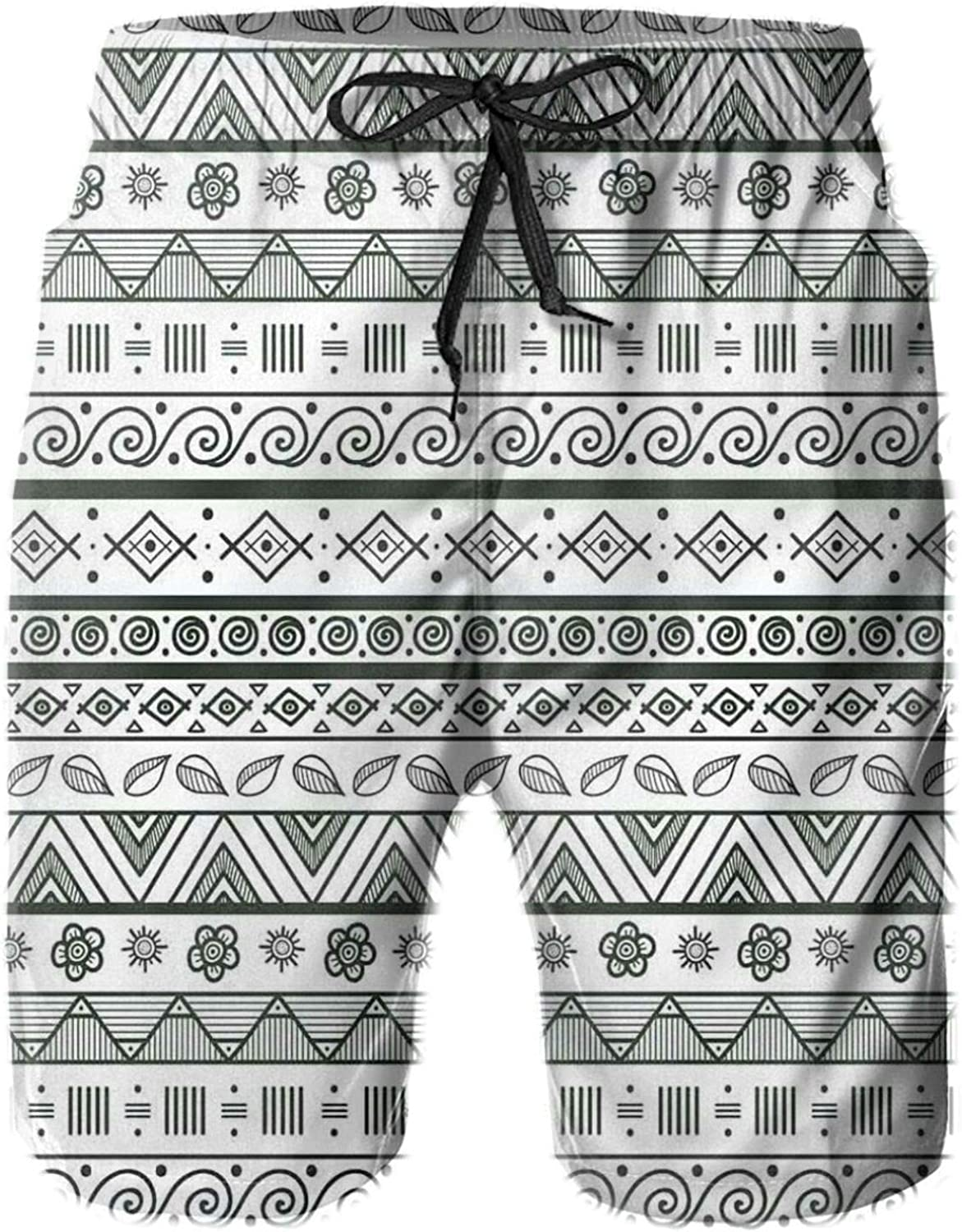 Ethnic Aztec Pattern with Primitive Geometric Forms Triangles Background Mens Swim Trucks Shorts with Mesh Lining,M