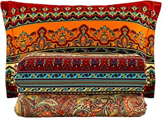 SexyTown-Bohemian King Size Comforter Set,Boho Chic Exotic Striped Bedding Set,100% Brushed Cotton Retro Printing Bed Comforters 3-Piece (King/Cal King)