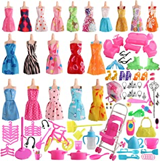 SOTOGO 125 Pieces Doll Clothes and Accessories for 11.5 Inch Girl Doll Include 20 Pieces Handmade...