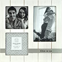 PRINZ Quotable Collage 4-Inch by 6-Inch and 4-inch by 4-inch Frame for Three Photos in Antique Finish, White