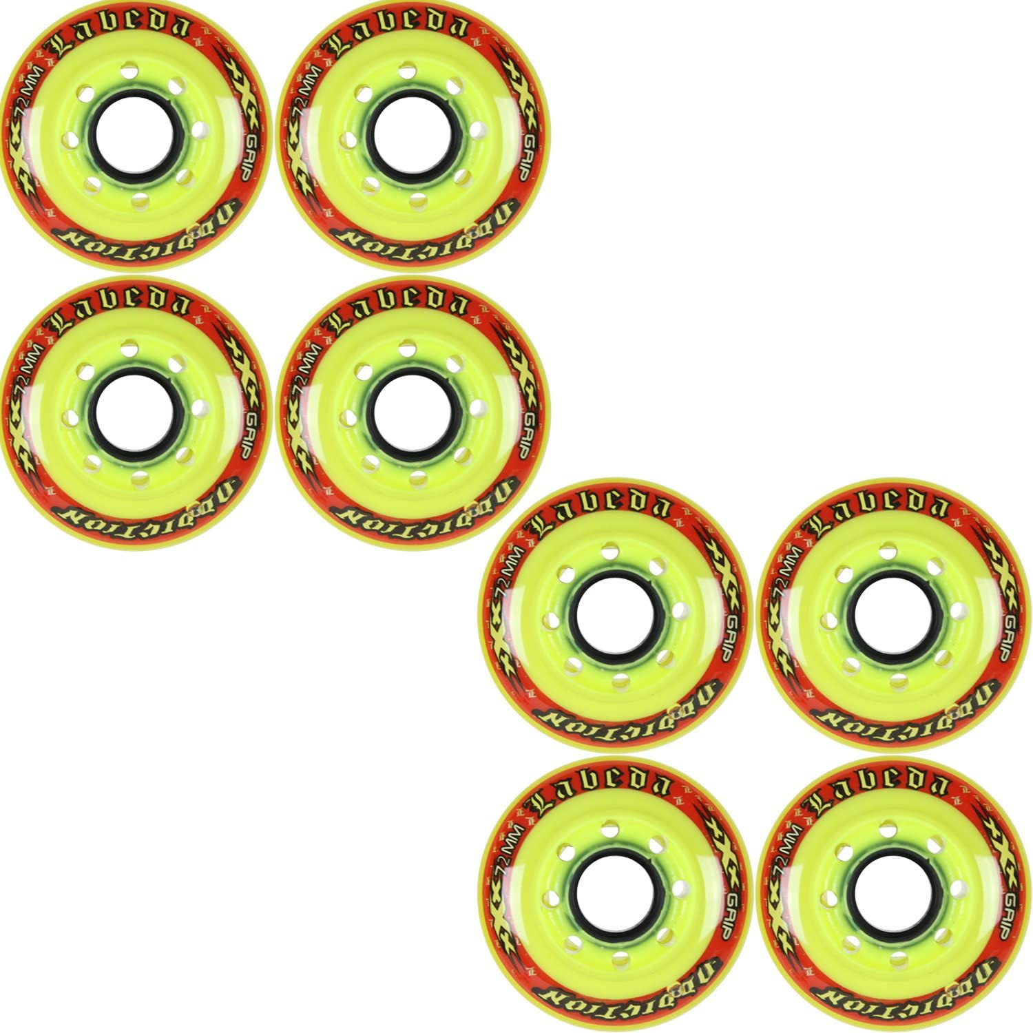 Labeda Addiction Wheels XXX Grip Yellow Red 72mm Roller Hockey 8Pack