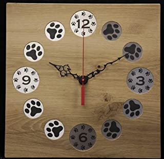 Square Oak Wall Clock with Etched Paw Prints on Stainless Steel MADE IN USA