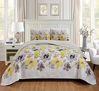 Luxury Home Collection Quilted Reversible Coverlet Bedspread Set Floral Printed, Lily Yellow, Full/Queen