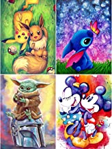 4 Pack 5D Full Drill Diamond Painting Kit, MIKIMIQI DIY Cartoon Stitch Diamond Rhinestone Painting Kits for Adults Beginne...