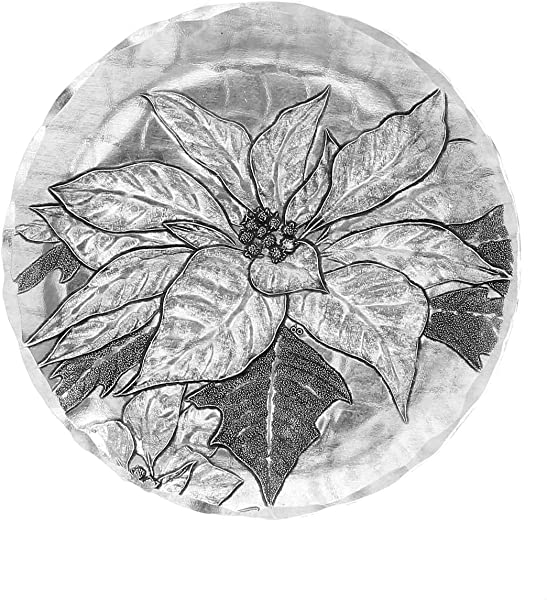 Wendell August Poinsettia Coaster Silver Hand Hammered Aluminum Keeps Tabletops Safe 4 5 Inch Round Coaster
