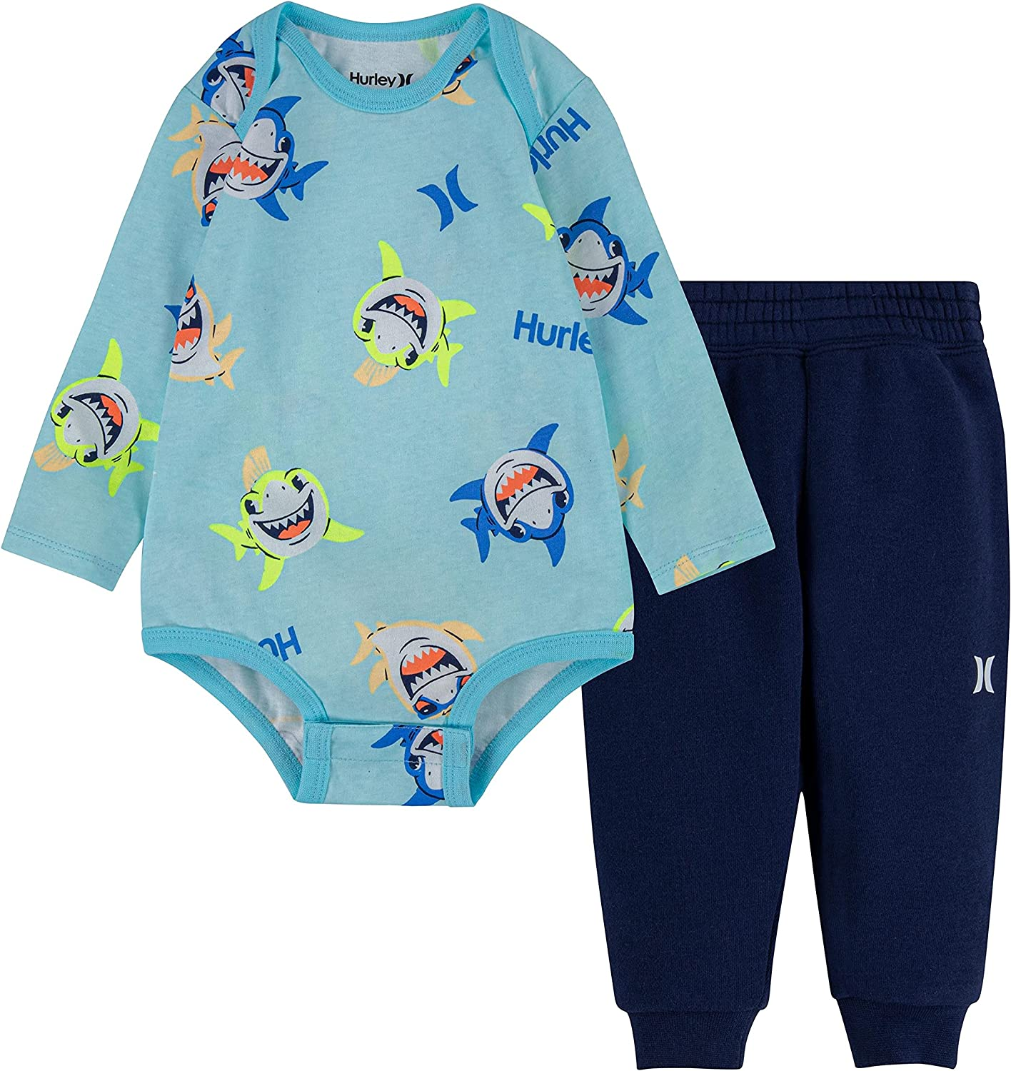 Hurley baby-boys Long Sleeve Bodysuit and Jogger Pants 2-piece Outfit Set