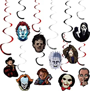 30Pcs Horror Classic Movie Character Party Swirl Decorations Hanging Spiral Decor Whirl Streamers Horror Movie Ceiling Streamers Horror Classic Spiral Favors for Birthday Party Room Decor
