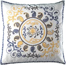 Bespoke Handmade Cushion Cover, 18 inch by 18 inch, Hand Stitched, Fair Trade, Decorative Pillow Cover (White)