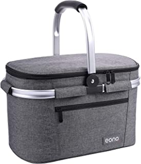 Eono by Amazon - 2 personas 22L Picnic Basket, cesta aislada, bolsa de refrigeración para exteriores