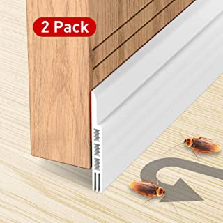 "Holikme 2 Pack Door Draft Stopper Under Door Draft Blocker Insulator Door Sweep Weather Stripping Noise Stopper Strong Adhesive 39"" Length"
