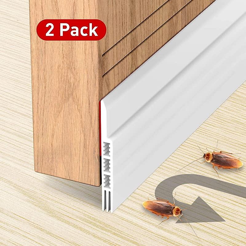Holikme 2 Pack Door Draft Stopper Under Door Draft Blocker Insulator Door Sweep Weather Stripping Noise Stopper Strong Adhesive 39 Length