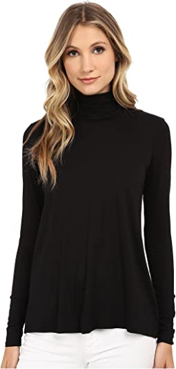 Three Dots - L/S Relaxed High Low Turtleneck