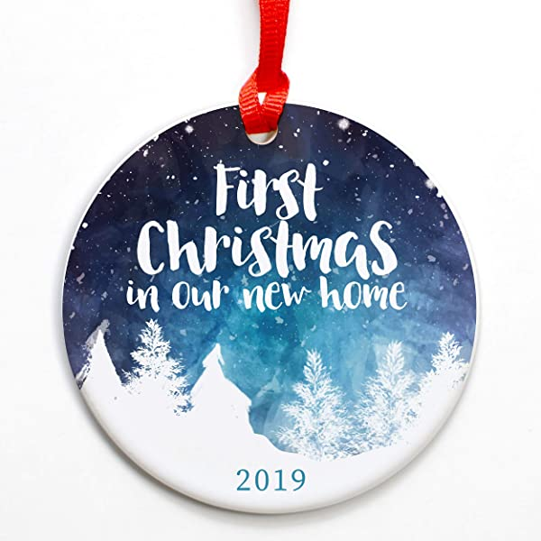 Traditional First Christmas In Our New Home Ornament 2019 New Home Ornament New Home 2019 Christmas Ornament Red Ribbon And Free Gift Box