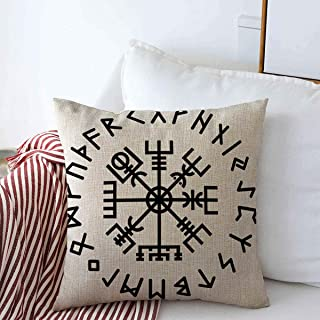 Staromar Throw Pillows Cover 16 x 16 Inches Myth Odin German Heath Vegvisir Rune Norse Abstract Pack Algiz Esoterism Amulet Celtics Collection Cushion Case Cotton Linen for Fall Home Decor