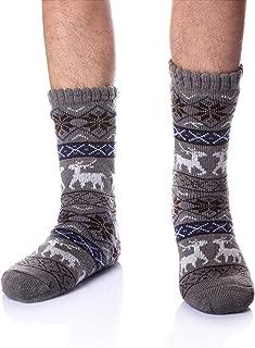 Men's Fleece Lined Cozy Extra Thick Slipper Socks Winter Non-Slip Fuzzy Home Socks Christmas Gift Stockings