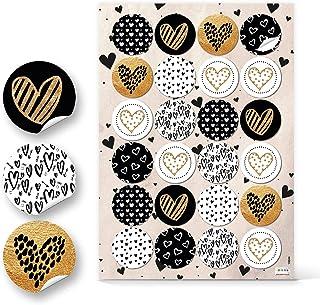 Logbuch-Verlag Lot de 96 autocollants ronds en forme de cœur - Doré/noir/blanc - 4 cm - Accessoires de bricolage et de déc...