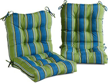 South Pine Porch AM6815S2-CAYMAN Cayman Stripe Outdoor Seat/Back Chair Cushion, Set of 2