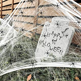 1000 sqft Spider Web Halloween Decorations Bonus with 60 Fake Spiders, Super Stretch Cobwebs for Halloween Indoor and Outd...