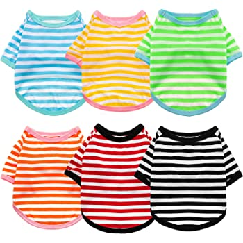 6 Pieces Dog Striped T-Shirt Cotton Dog Shirt Breathable Pet Apparel Colorful Puppy Sweatshirt Dog Clothes for Small to Medium Dogs Puppy