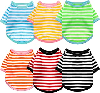 Geyoga 6 Pieces Dog Striped T-Shirt Cotton Dog Shirt Breathable Pet Apparel Colorful Puppy Sweatshirt Dog Clothes for Smal...
