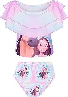 Toddler Baby Girls 2 Piece Swimsuits Riding Horse Print Little Princess Swimwear Bathing Suit Beach Tankini