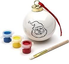 TRIXES Colour Your Own Christmas Santa Bauble with 3PC Paint Set and Brush – Festive Decoration