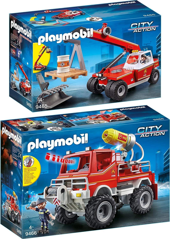 Playmobil City Action 2pcs. set 9465 9466 Fire Department Telescope Crane + Fire Truck