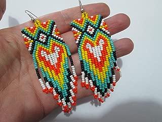 turquoise orange native american dangle drop square x design hand beaded glass seed aztec ethnic bugle peyote stitch beads earrings beadwork fair trade handmade native american style southwest design