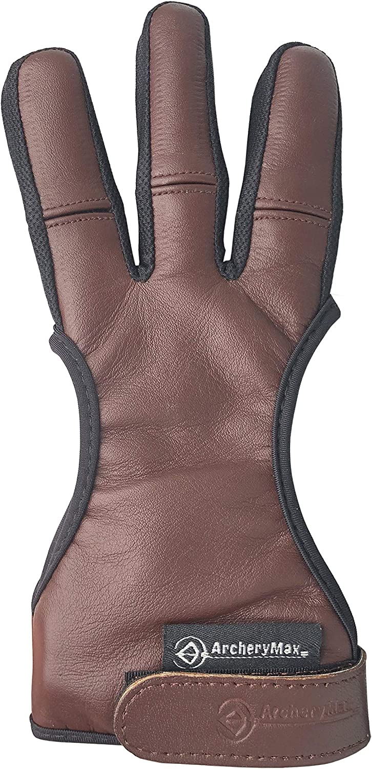 ArcheryMax Handmade Brown Free shipping on posting reviews Baltimore Mall Leather Gloves Finger Three Archery