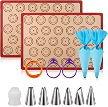 Silicone Baking Mat Macaron Mat Kit(14pcs set) Macaroon Baking Mat Set of 2 Half Sheet..