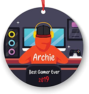 ACP Personalized Video Game Player Boy Playing Video Game Christmas Ornament 2019 2020 Gamer FreeGiftBox