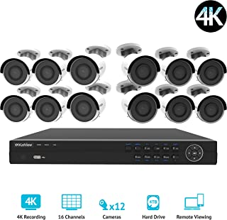 LaView 16 channel 4K home security system with 12 8MP 4K Bullet Cameras, 4TB Storage - Outdoor weatherprood IP Poe Surveillance cameras, 100ft Night Vision - LV-KNG9661612G8-T4