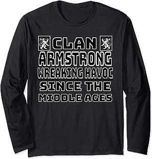 Armstrong Scottish clan Family Kilt Tartan Lion Long Sleeve T-Shirt