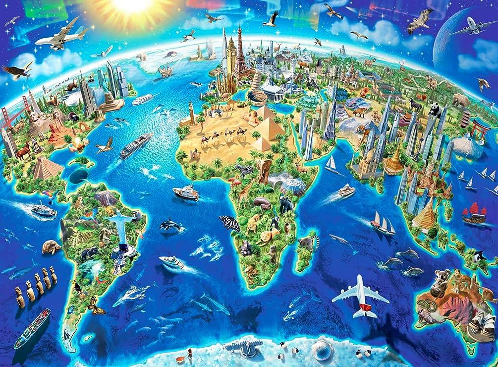 むしろ不明瞭即席Minisan 1000ピース ジグソーパズル 世界地図 パズル 知育 World map puzzle (50 x 75 cm)