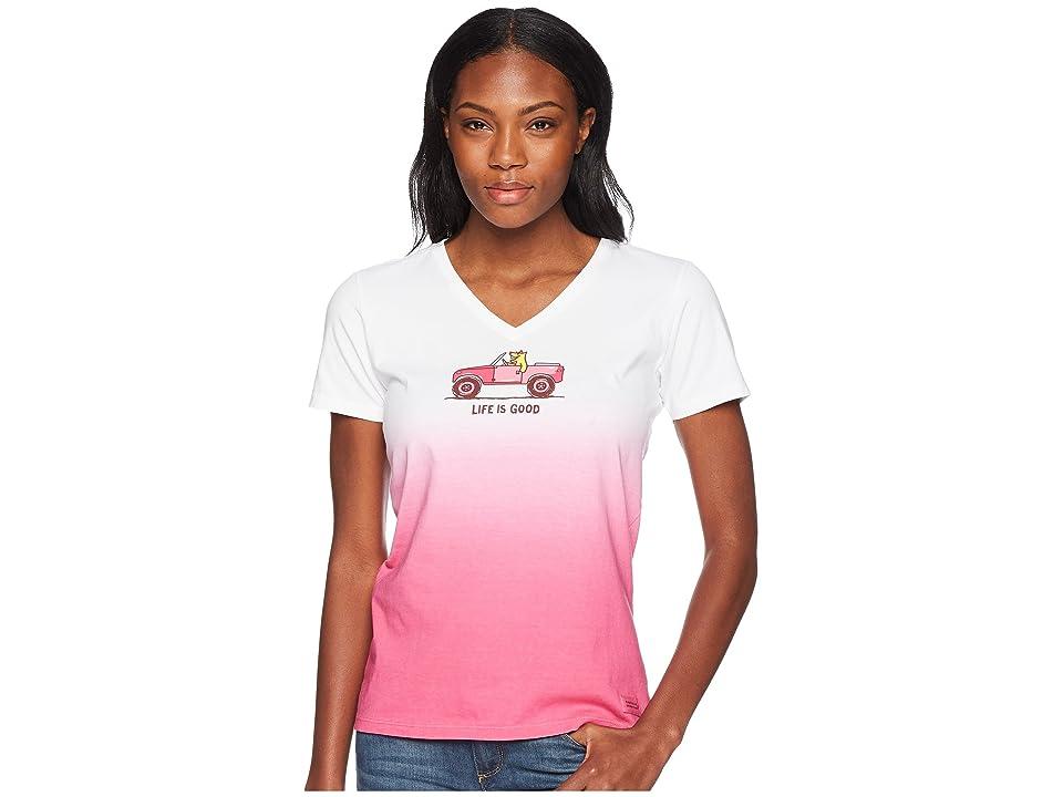 e7086572c Life is Good 4X4 Rocket Crusher Vee Tee (Fiesta Pink) Women