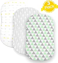 BaeBae Goods Bassinet Sheet Set   Cradle Fitted Sheets for Bassinet Mattress/Pads   Super Soft Jersey Knit Cotton   3 Pack   150 GSM   Arrows Collection