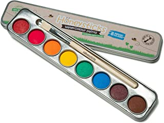 Honeysticks Non Toxic Watercolour Paint Set for Kids and Toddlers - 8 Vibrant and Long Lasting Colours with Brush - Natura...