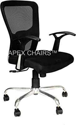 SAVYA HOME Apex Chairs Beatle Chrome Base Medium Back Office Chair (Black)